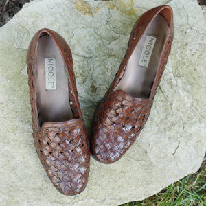 Nicole | brown woven loafers | slip-on shoes VTG